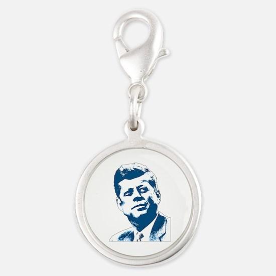 John F Kennedy Tribute Silver Round Charm