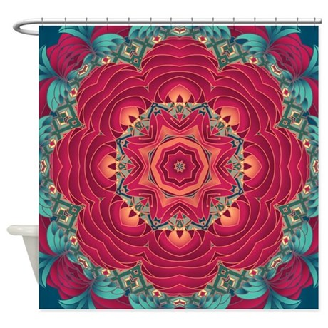 Red lotus flower mandala shower curtain by zandiepantsdoodles red lotus flower mandala shower curtain mightylinksfo
