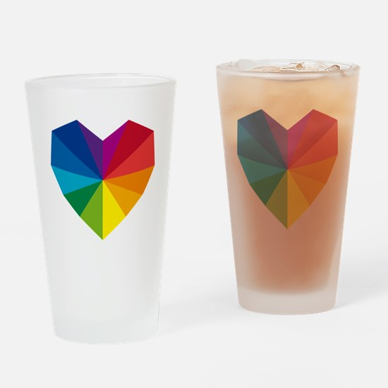 colorful geometric heart Drinking Glass