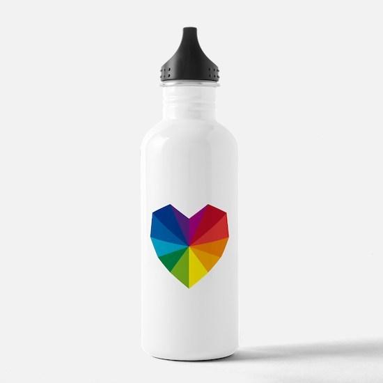 colorful geometric heart Water Bottle