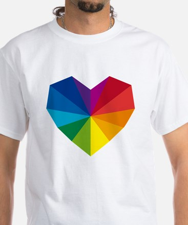 colorful geometric heart White T-Shirt