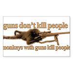 MONKEYS WITH GUNS... Sticker (Rectangle 50 pk)