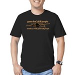 MONKEYS WITH GUNS... Men's Fitted T-Shirt (dark)