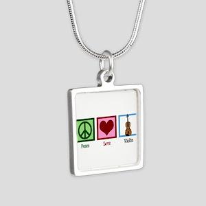 Peace Love Violin Silver Square Necklace