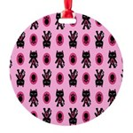 Pink Cat Paw Pattern Round Ornament