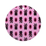 Pink Cat Paw Pattern Ornament (Round)