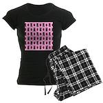 Pink Cat Paw Pattern Women's Dark Pajamas