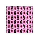 Pink Cat Paw Pattern Square Sticker 3