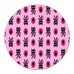 Pink Cat Paw Pattern Round Car Magnet