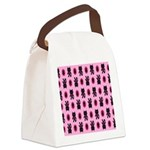 Pink Cat Paw Pattern Canvas Lunch Bag