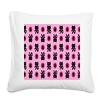 Pink Cat Paw Pattern Square Canvas Pillow