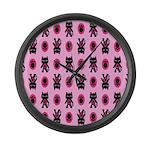 Pink Cat Paw Pattern Large Wall Clock