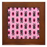 Pink Cat Paw Pattern Framed Tile