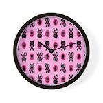 Pink Cat Paw Pattern Wall Clock