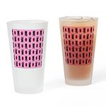 Pink Cat Paw Pattern Drinking Glass