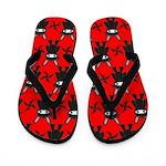 Red Black Ninja Bunny Flip Flops