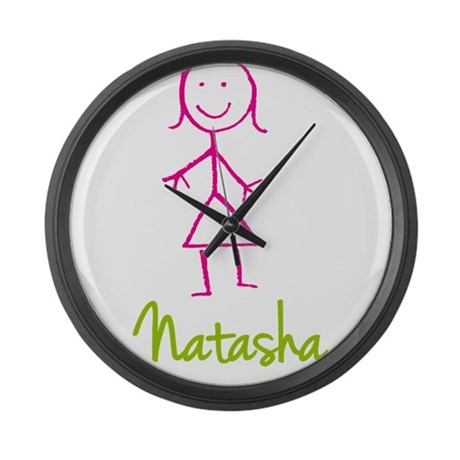Natasha-cute-stick-girl Large Wall Clock