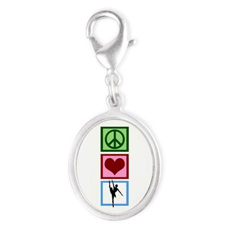 Peace Love Ballet Silver Oval Charm