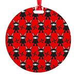 Red Black Ninja Bunny Round Ornament