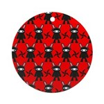 Red Black Ninja Bunny Ornament (Round)