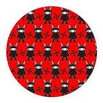 Red Black Ninja Bunny Round Car Magnet