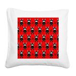 Red Black Ninja Bunny Square Canvas Pillow
