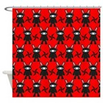 Red Black Ninja Bunny Shower Curtain
