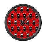 Red Black Ninja Bunny Large Wall Clock