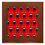 Red Black Ninja Bunny Framed Tile
