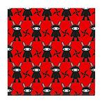 Red Black Ninja Bunny Tile Coaster