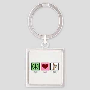 Peace Love Harp Square Keychain