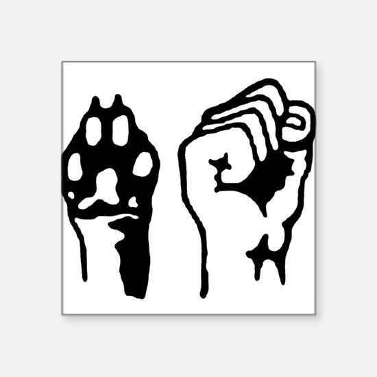 "Animal and Human liberation. Square Sticker 3"" x 3"