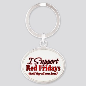 I support Red Fridays Oval Keychain