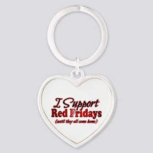I support Red Fridays Heart Keychain