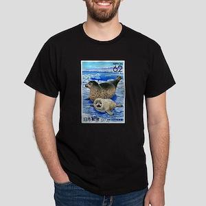 1993 Japan Harbor Seals Postage Stamp Dark T-Shirt