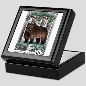 1989 Finland Brown Bear Postage Stamp Keepsake Box
