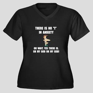 Anxiety Women's Plus Size V-Neck Dark T-Shirt