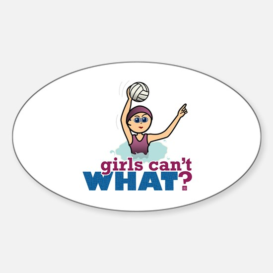 Water Polo Girl Sticker (Oval)
