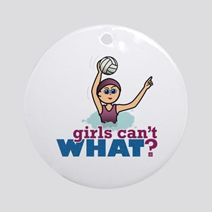 Water Polo Girl Ornament (Round)