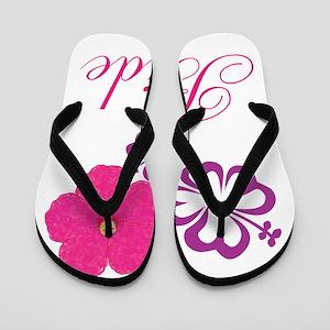 eb841dd788da Pink and Purple Bride Hibiscus Flower Flip Flops
