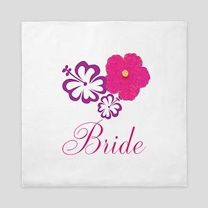Pink and Purple Bride Hibiscus Flower Queen Duvet