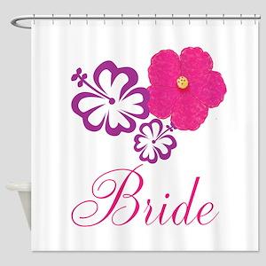 Pink and Purple Bride Hibiscus Flower Shower Curta