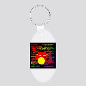 drum and drummer Aluminum Oval Keychain