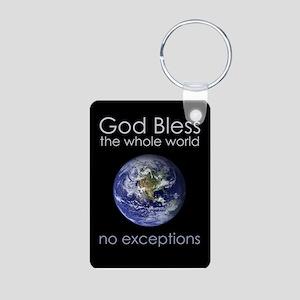 God Bless the Whole World Aluminum Photo Keychain