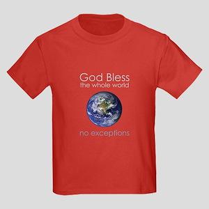God Bless the Whole World Kids Dark T-Shirt