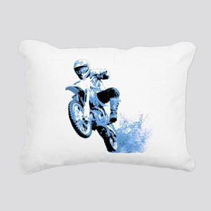 Blue Dirtbike Wheeling in Mud Rectangular Canvas P