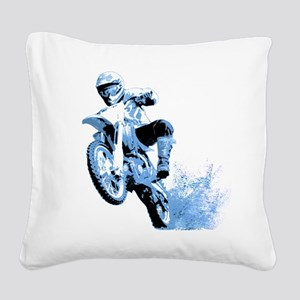 Blue Dirtbike Wheeling in Mud Square Canvas Pillow