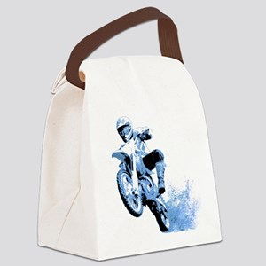 Blue Dirtbike Wheeling in Mud Canvas Lunch Bag