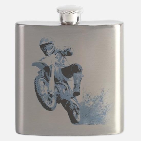 Blue Dirtbike Wheeling in Mud Flask
