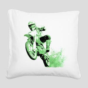 Green Dirtbike Wheeling in Mud Square Canvas Pillo